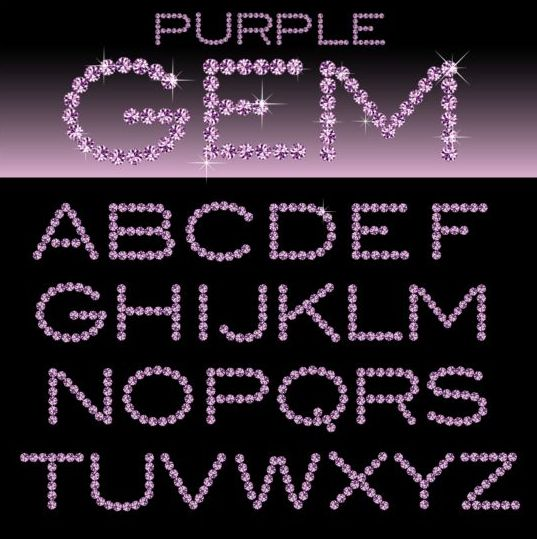 Purple diamond alphabet vectors