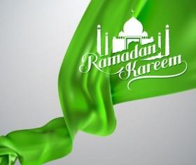 Ramadan kareem background with green silk fabric vector 01
