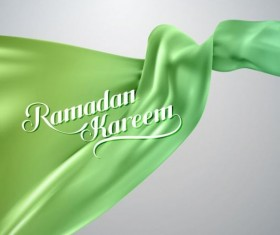 Ramadan kareem background with green silk fabric vector 02