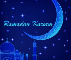 Ramadan kareem with moon background vector 01