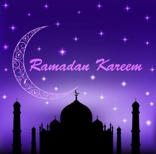 Ramadan kareem with moon background vector 03