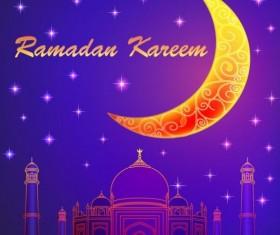 Ramadan kareem with moon background vector 04