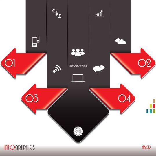 Red with black infographic creative vector 01 - Vector Business free