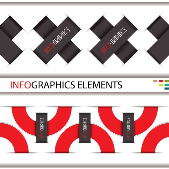 Red with black infographic creative vector 06