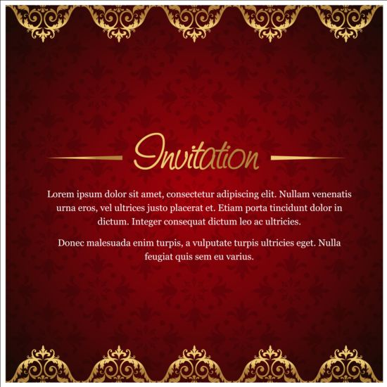 Red with golden invitation background vector 02 vector red with golden invitation background vector 02 stopboris Gallery