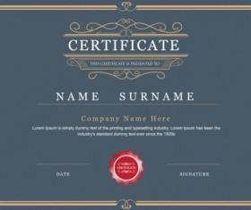 Retro gray certificate template vector 01
