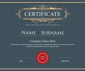 Retro gray certificate template vector 02
