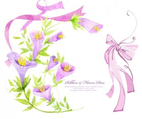 Ribbon with flower psd material