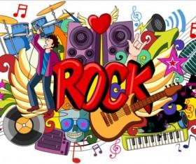 Rock music doodle vector illustration