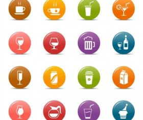 Round drink colored icons set