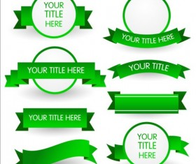 Round label with green ribbon vector