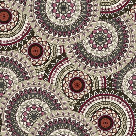 Round mandala seamless pattern vector 01