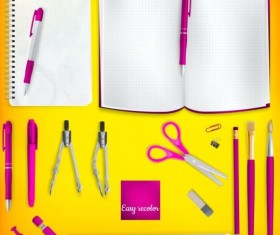 School supplies with colored background 04