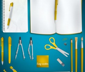 School supplies with colored background 06