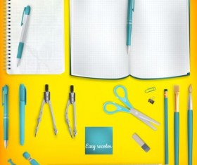School supplies with colored background 08