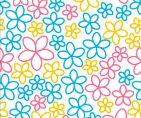 Seamless pattern with color flowers vector