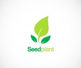 Seed plant green organic logo vector