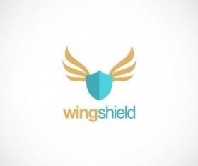 Shield protection wing vector logo