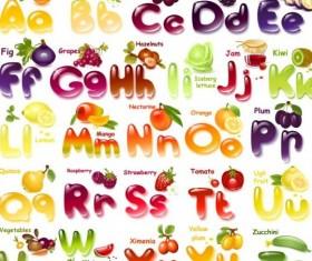 Shining fruits alphabet vector