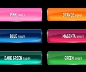 Shining glass colored button vector set