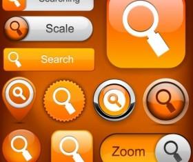 Shining orange search button vector