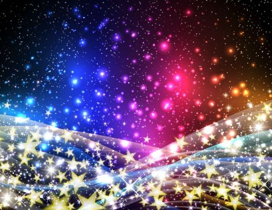 Shining star with halation background vector material 09