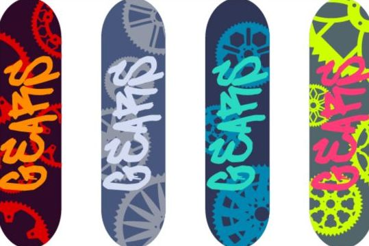 Skateboard design material vector 04