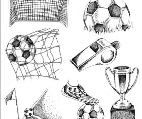 Soccer elements hand drawn vector material 01