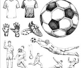 Soccer elements hand drawn vector material 02
