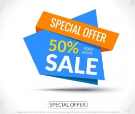 Special offer sale labels vector 09
