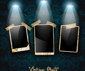 Spotlight with grunge photo background vector 01