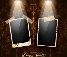 Spotlight with grunge photo background vector 02