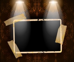 Spotlight with grunge photo background vector 03