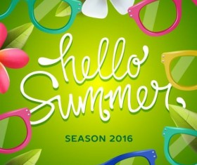 Summer background with colored picture frame vector 01