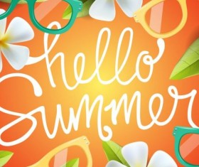 Summer background with colored picture frame vector 02