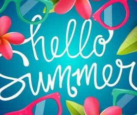 Summer background with colored picture frame vector 03
