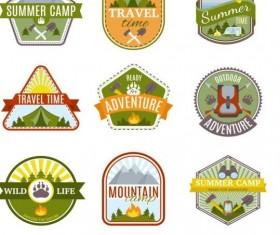 Summer camp vintage labels vector