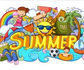 Summer holiday doodle vector illustration