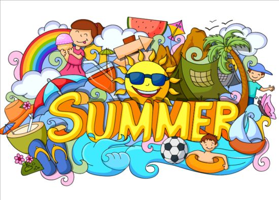 Summer holiday doodle vector illustration