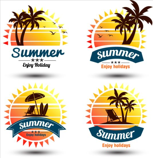 Summer holiday with palm labels vector set 01