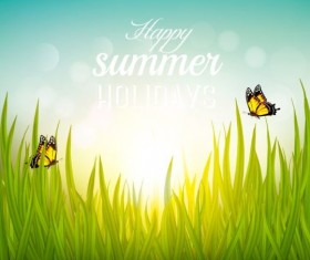 Summer nature background with butterflies vector