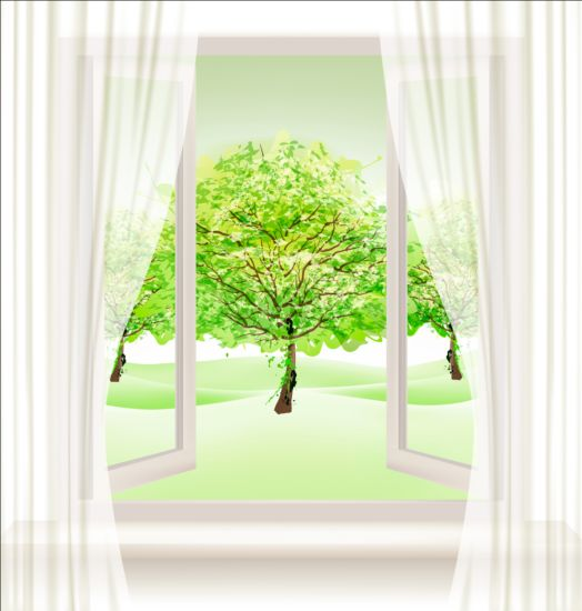 Summer nature background with open window and green trees vector