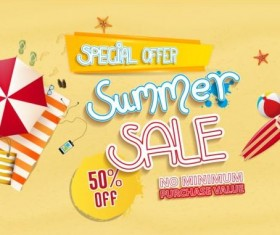 Summer sale special offer with beach background 01