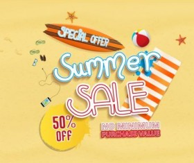 Summer sale special offer with beach background 02
