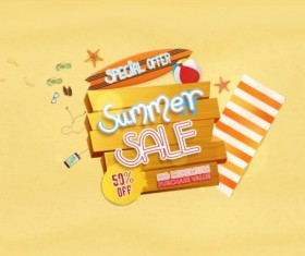 Summer sale special offer with beach background 03