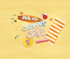 Summer sale special offer with beach background 04