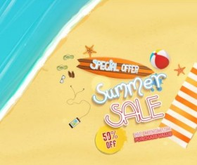 Summer sale special offer with beach background 05