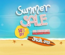 Summer sale special offer with beach background 06