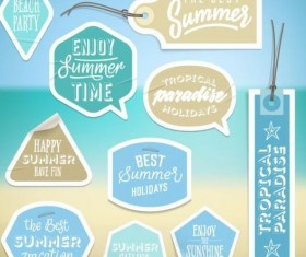 Summer stickers with tags vectors set 01