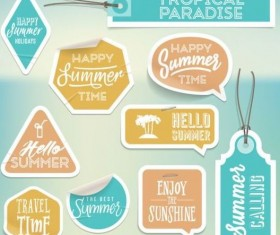 Summer stickers with tags vectors set 02